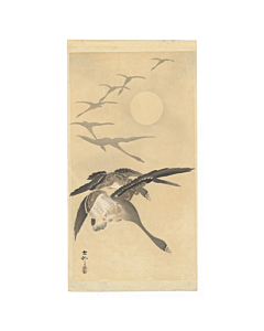 Koson Ohara, Flying geese, moonlight, japanese woodblock print, japanese antique