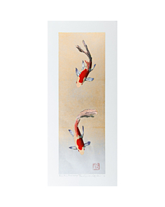 kunio kaneko, koi fish, japanese woodblock print, japanese art, contemporary art