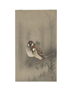 japanese woodblock print, japanese antique, ukiyo-e, koson ohara, birds