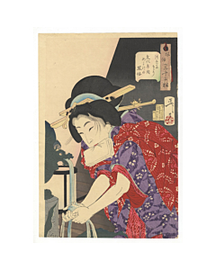 yoshitoshi tsukioka, beauty, kimono pattern, japanese woodblock print, japanese antique