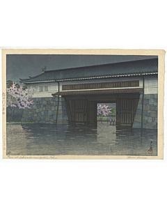 kawase hasui, rain, sakura, japanese gate, japanese woodblock print, modern print, shin-hanga