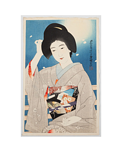 Ito Shinsui, Hazy Moon, Spring Night, Shin Hanga, Japanese woodblock print, kimono, obi, japanese hairstyle