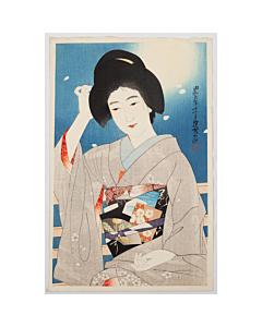 Ito Shinsui, Hazy Moon, Spring Night, Shin Hanga, Japanese woodblock print, kimono, obi, japanese hairstyle