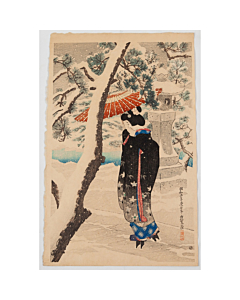 Ito Shinsui, shin hanga, japanese woodblock print, snow, pine tree, japanese umbrella, japanese garden, shrine