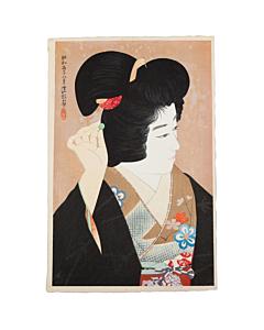 ito shinsui, japanese hairpin, shin hanga, modern print, japanese antique, kimono