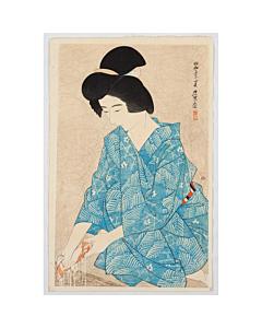 Ito Shinsui, shin hanga, kimono, japanese hairstyle, japanese woodblock print, antique