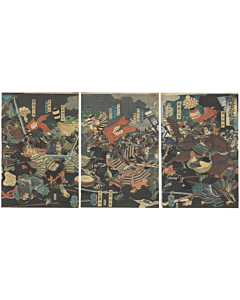 Yoshitoshi Tsukioka, Great Battle, Warrior, samurai, yoroi, katana, japanese woodblock print, japanese antique