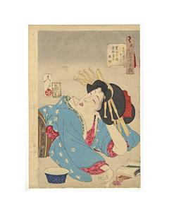 Yoshitoshi Tsukioka, Relaxed, Beauty, Geisha, Thirty-Two Aspects of Customs and Manners