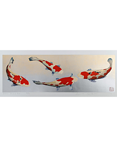 kunio kaneko, contemporary art, japanese woodblock print, koi fish, japanese art