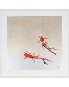 kunio kaneko, koi fish, japanese nature, contemporary art, japanese woodblock print