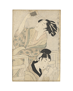 Utamaro Kitagawa, Parody of Act VII of Chushingura, Faithful Samurai, Beauty, Original Japanese woodblock print