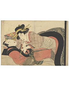 Eizan Kikugawa, Shunga, Smoking, Original Japanese woodblock print, Beauty, Erotic