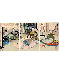 japanese woodblock print, japanese antique, playing music, yoshitoshi