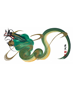 Tetsuya Abe, Green Dragon, One Stroke, Contemporary Art, Original Japanese ink painting