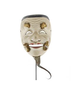 Okina Mask, Noh Theatre Performance, Old Man, Original Japanese antique