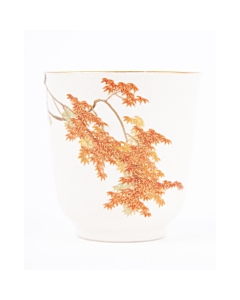 Yabu Meizan, Satsuma Tea Cup, Gilded Red, Maple leaves, Botanical, Japanese antique, Ceramics