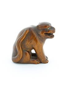 Wooden Netsuke, Growling Dog, Carving, Animal, Figurine, Glass Eye, Original Japanese antique