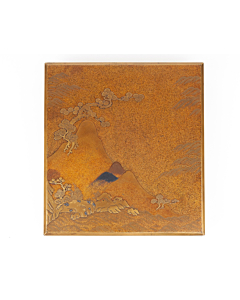 Maki-e, Suzuribako, Calligraphy Box, Landscape, Mountains, Japanese Antique