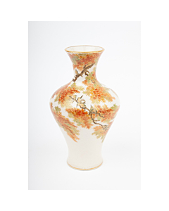 Yabu Meizan, Satsuma Vase with Bird and Maple Motif, Animal, Nature, Autumn, Fall, Ceramics, Original Japanese antique