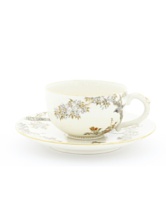 Yabu Meizan, Tea Cup and Saucer, Satsuma, Sakura, Japanese antique, Japanese art, Japan
