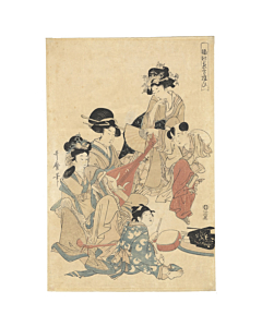 Utamaro Kitagawa, Courtesan, Edo, japanese antique, japanese woodblock print, japanese music