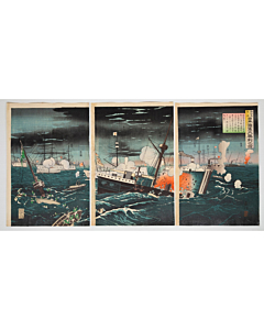 beisaku taguchi, war print, senso-e, japanese history, japanese imperial army, battleship, meiji era