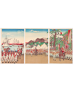 japanese embassy, japanese imperial army, meiji era, battleship, war print