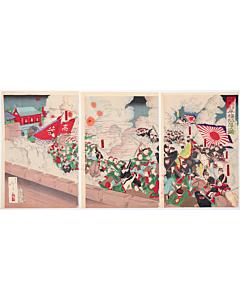 toshimasa eda, war print, battle, meiji era, japanese imperial army