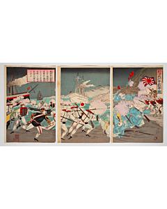 nobukazu yosai, war print, battleship, senso-e, meiji era, japanese imperial army