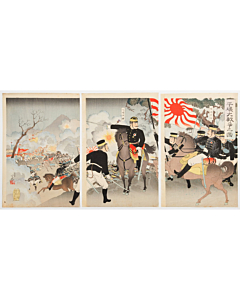 ginko adachi, war print, senso-e, japanese history, japanese army, imperial army, meiji period