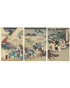 war print, japanese history, senso-e, battle, japanese imperial army, meiji era