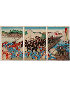 Kunitoshi Utagawa, Japanese Military Engineers Building a Ponton Bridge