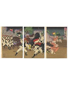 war print, mount asan, japanese imperial army, senso-e, meiji era, japanese history