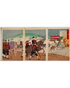 chikanobu toyohara, war print, senso-e, japanese imperial army, horse, rain, meiji era