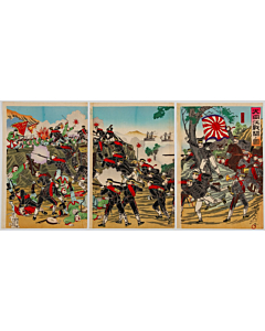 Nobukazu Yosai, The Battle of River Taedong, War Print