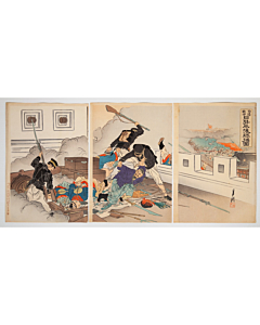 Gekko Ogata, Breaking into Castle at Pyong-yang, War Print