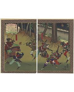 toyonobu utagawa, japanese history, warrior battle, samurai, japanese armour, hideyoshi