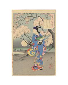 Yoshitoshi Tsukioka, Kabuki Actor Mizuki Tatsunosuke, One Hundred Aspects of the Moon