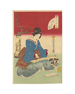 Kunichika Toyohara, koto, japanese music, japanese woodblock print, kimono, ikebana