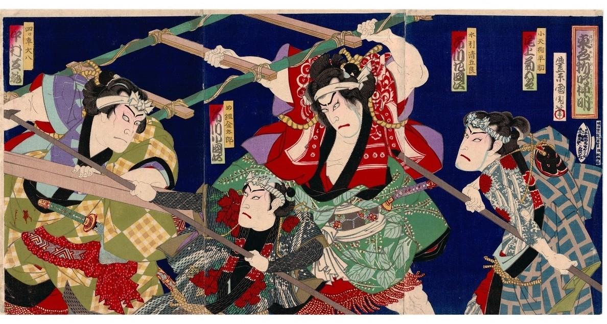 kunichika toyohara, firemen, sumo, tattoo
