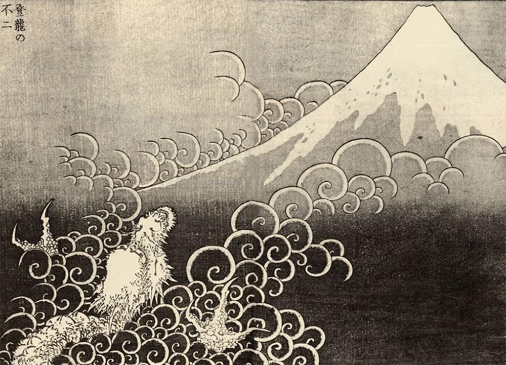 hokusai katsushika, mount fuji, dragon